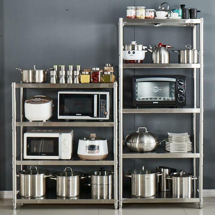 不锈钢厨房置物围栏架落地多层微波炉烤箱收纳架储物用品锅碗架子