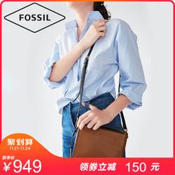 Fossil牛皮女包多隔层轻便单肩斜挎包简约复古包包女包ZB726