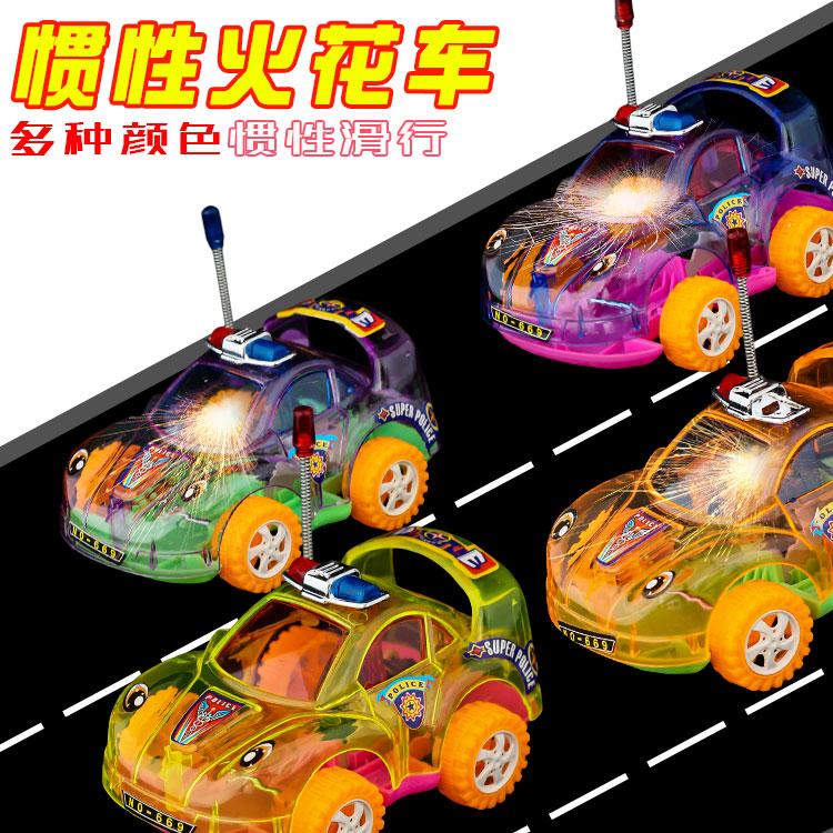 新奇特玩具批发惯性赛车透明火花车热卖地摊货源厂礼物小礼品