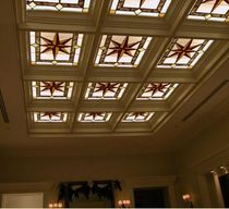 Entrance into the new Chinese aisle corridor ceiling window Partition glass Mediterranean European Art Glass