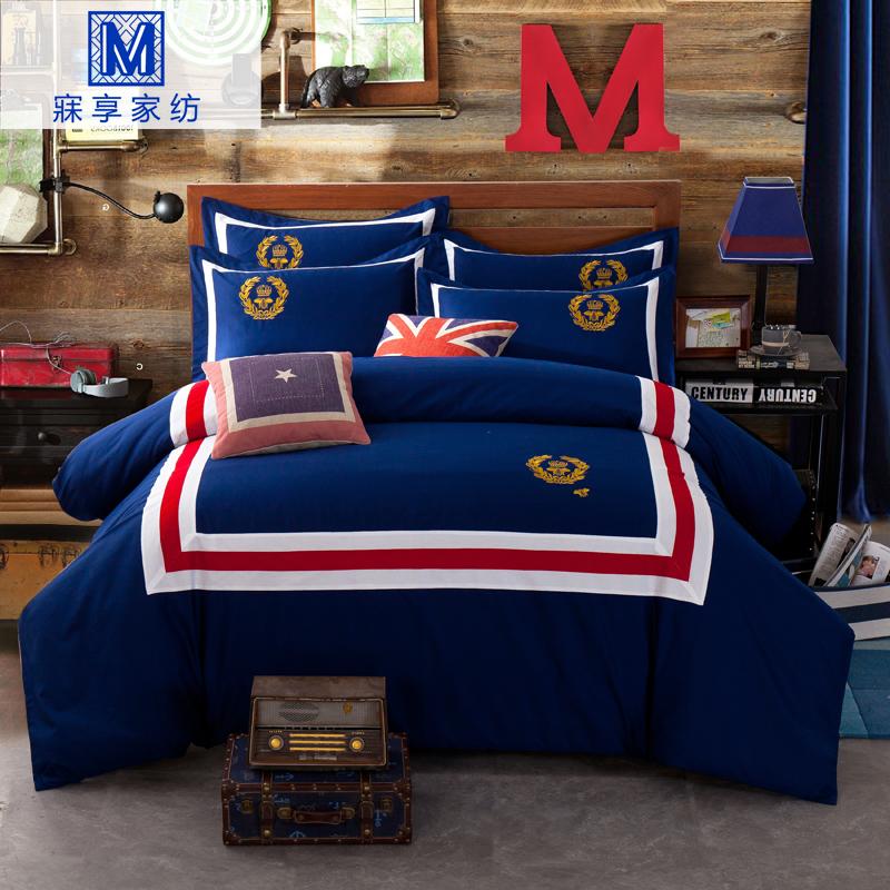 寐享英伦风床上用品四件套纯棉全棉4件套欧美1.8m床双人被套床单