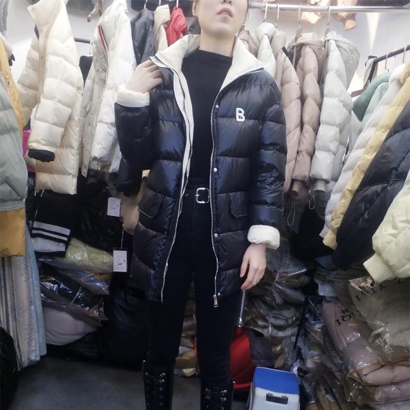 秋冬新款羽绒服女中长款宽松韩版个性大口袋立领时尚显瘦拼色外套