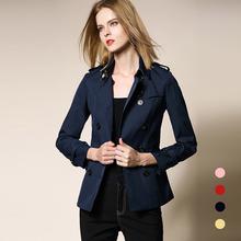 新款 正品 欧巴宝莉安娜女士风衣秋冬纯棉短款 金典英伦纯色外套 修身