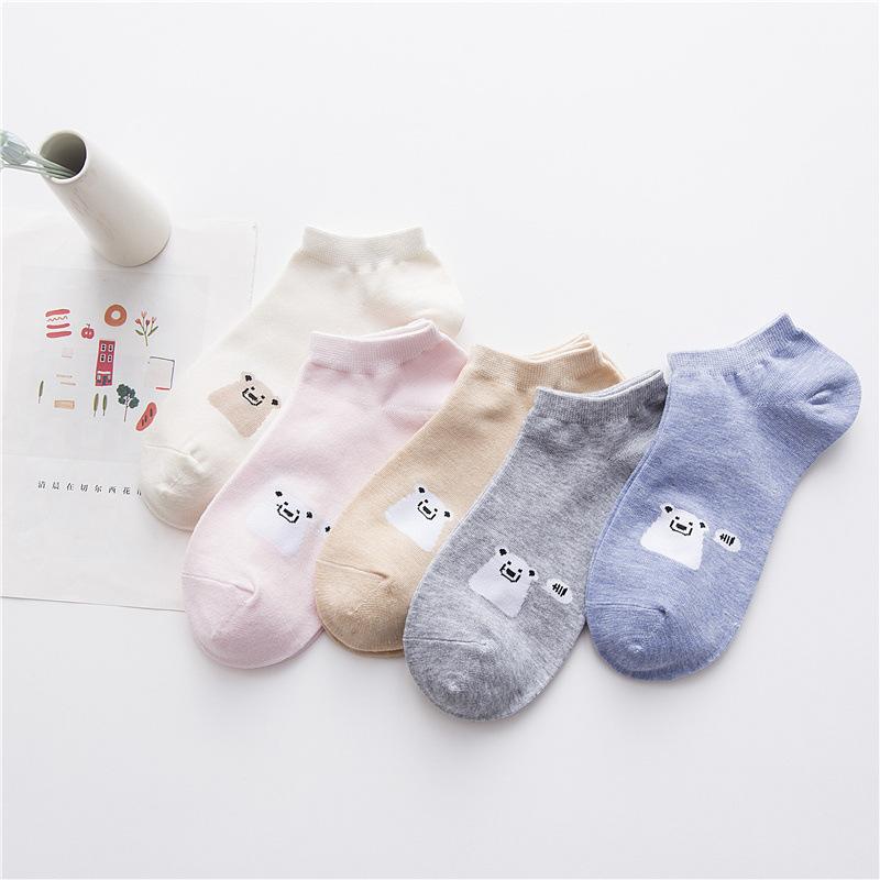 【五双装】袜子女浅口春秋季短袜吸汗透气船袜防滑四季可穿低帮