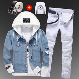 春秋季棒球服男士韩版修身青少年牛仔夹克长裤一套装潮流牛仔外套