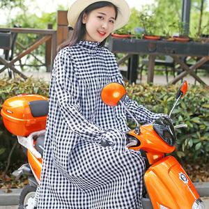 电动车防晒衣女长款大码户外骑摩托车防晒服条纹全身防紫外线夏季