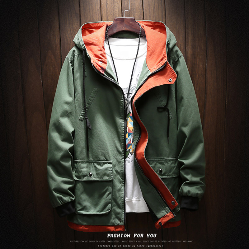 Fat man autumn new jacket mens fattening plus size loose coat hooded youth fashion brand retro handsome 2020