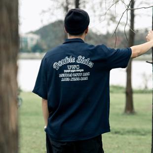 CENLES SS20 条纹国潮外搭户外夏威夷复古短袖衬衫宽松夏轻薄透气图片