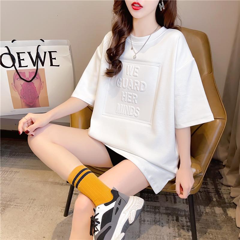 实拍2021夏装韩版宽松棉质圆领5D钢印上衣中长款大码女装短袖T恤