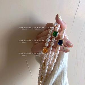 超重工 设计师款贵气天然淡水珍珠宝石项链女ins轻奢手链