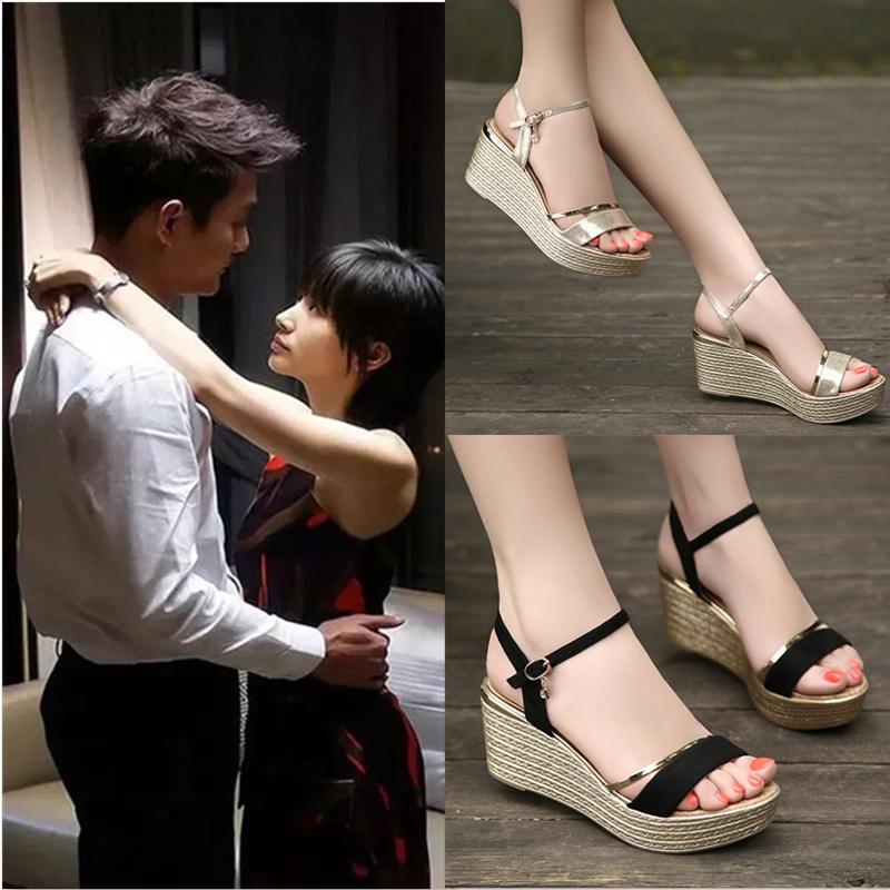特价坡跟凉鞋女夏季2020新款韩版高跟防水台松糕厚底百搭真皮女鞋图片