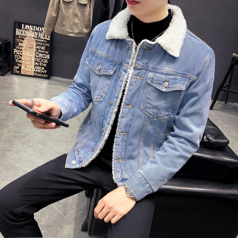 Japanese retro Plush lambs wool cotton coat student denim jacket winter couple denim coat male trend