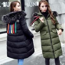 定制超大码女装欧美时尚韩版大毛领连帽中长款棉服面包服SRMF-8