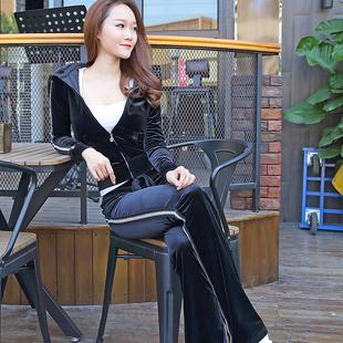 韩国金丝绒运动套装女2019春秋时尚网红连帽杠条显瘦休闲服两件套