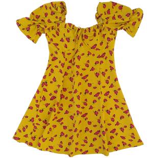 下蛋喵 法國小眾 20夏復古少女黃色印花修身顯瘦高腰 碎花連衣裙