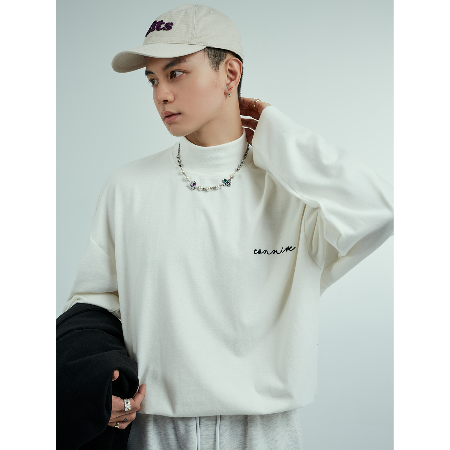 Indulge tide brand long sleeve solid color t-shirt mens 2021 spring and autumn port wind and day department half high collar with white backing T-shirt inside
