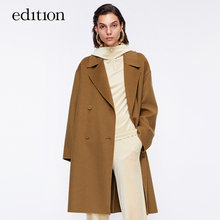 Edition woolen coat women's winter Vintage double breasted wool medium length woolen coat Moco