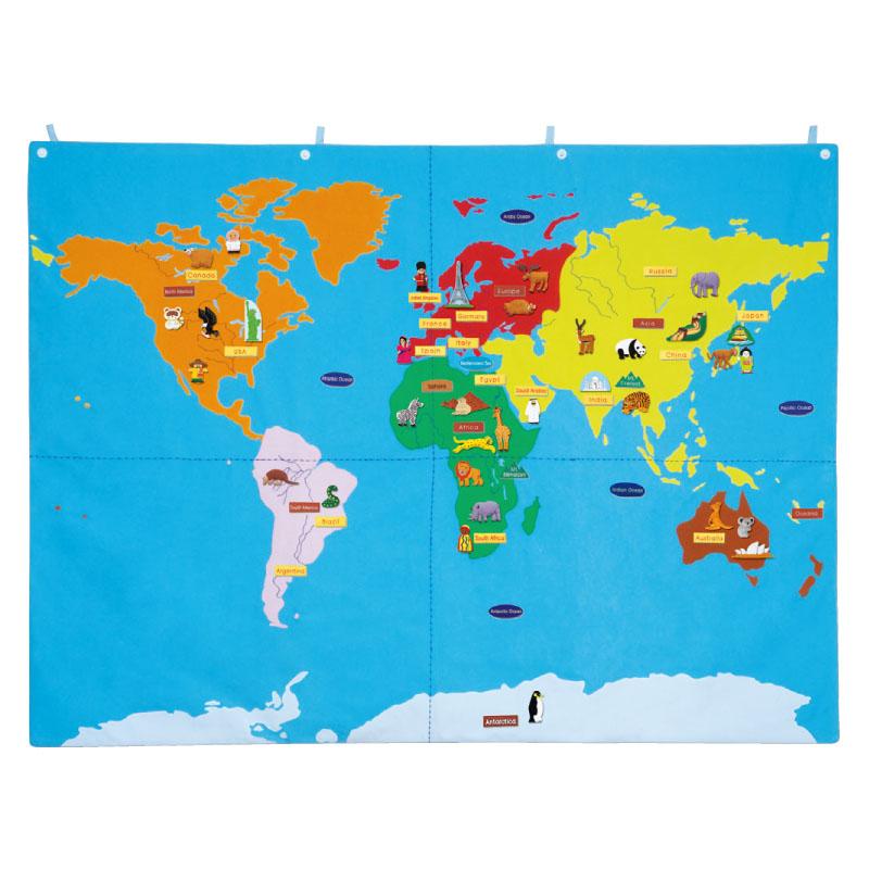 幼儿园早教中心儿童乐园宝宝认知世界地图亲子互动科学教学挂图 Изображение 1