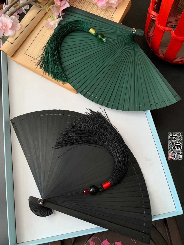 日式中国风全竹扇子折扇镂空古风男女士折叠扇手工小5寸舞蹈扇黑 Изображение 1