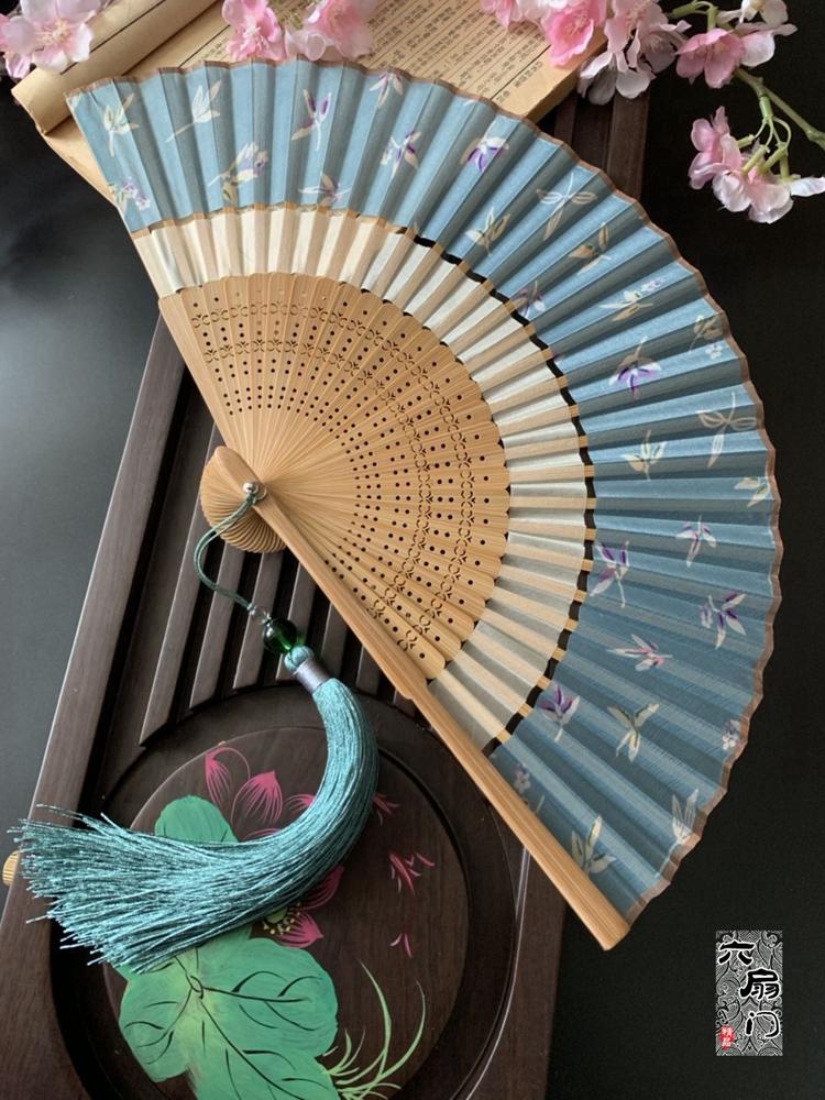 中国风双节扇折叠布面复古风旗袍汉服小折扇子随身便携夏季女舞蹈 Изображение 1
