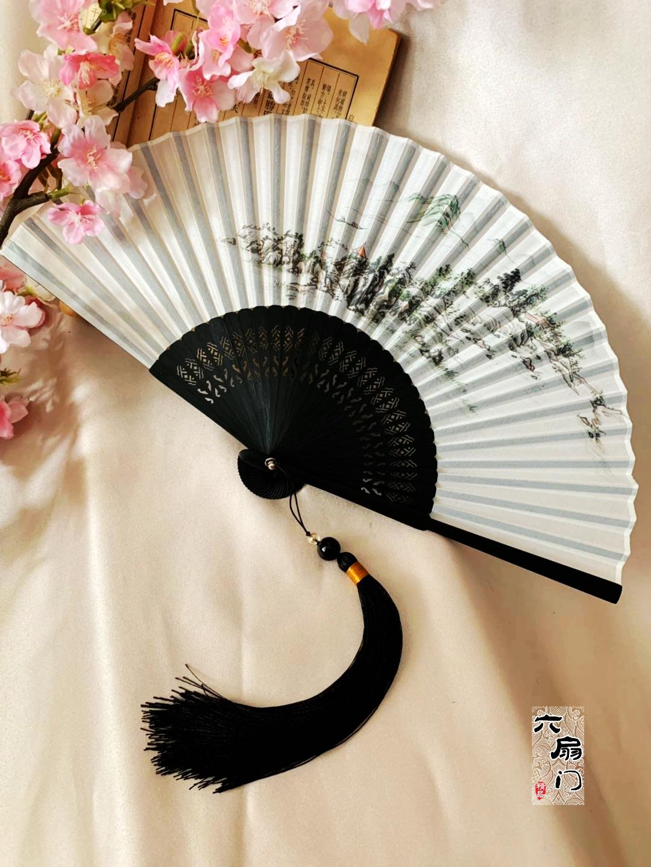折扇子中国风水墨宫廷折扇子古典工艺礼品扇子夏季纳凉男女日用扇