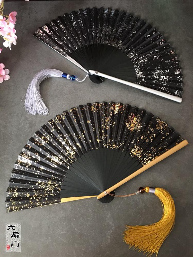 中国风扇6寸金银洒金银真丝女式古风日式日本和风折扇子古典摄影 Изображение 1