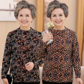 加絨打底衫女中老年冬裝新款保暖中領印花T恤長袖加厚媽媽裝上衣圖片