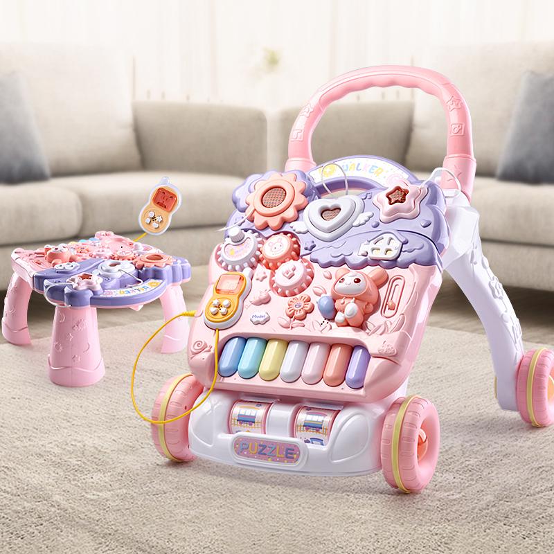 宝宝学步车手推车防o型腿防侧翻多功能1婴儿玩具走路神器助步女孩图片
