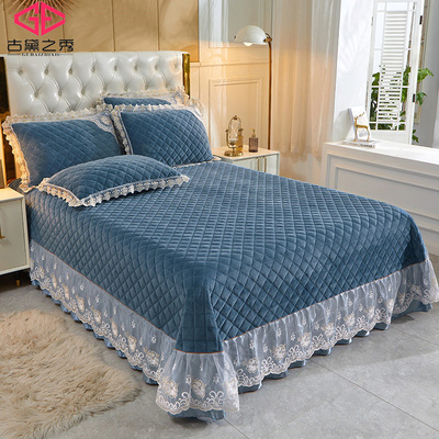 European style crystal velvet quilted bed cover 1.8 bed thick double bed single quilted lace short plush tatami bedding