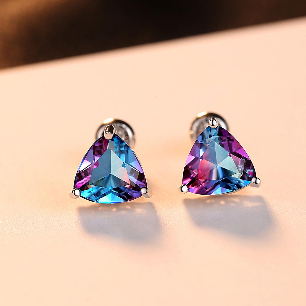 天然紫色宝石耳钉女S925纯银气质防过敏紫水晶耳环韩国个性耳饰潮