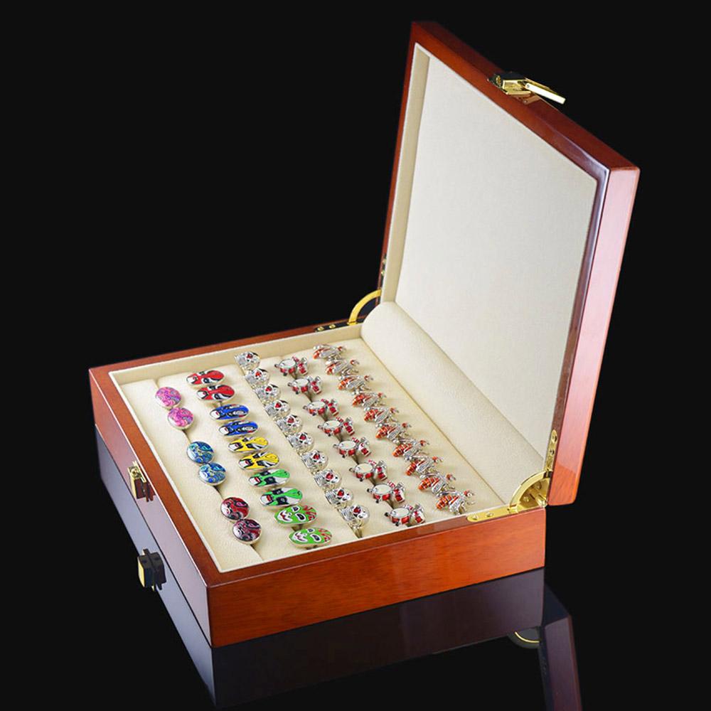 Defective cuff box mens French cuff shirt ring womens shirt long sleeve metal sleeve nail storage wooden box button