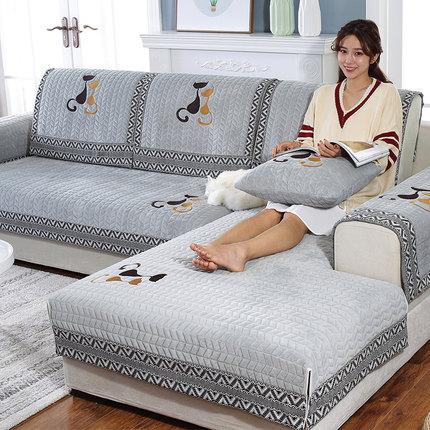 沙发垫毛绒冬季布艺欧式防滑坐垫简约现代全盖沙发套全包万能套罩