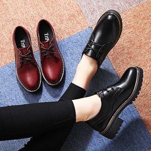 冬季布洛克英伦风女鞋黑色小皮鞋女粗跟单鞋加绒中跟休闲工作鞋子