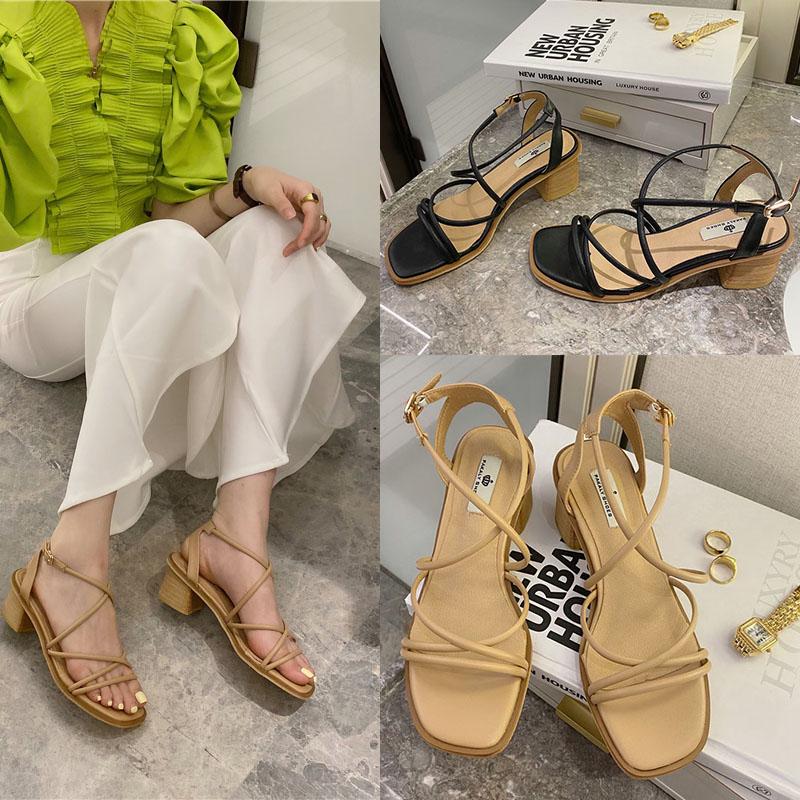 粗跟凉鞋女中跟百搭罗马风2020新款夏季时尚英伦交叉一字带凉鞋女