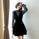 2018新款女装春装冬裙背带裙子两件套2017秋冬季金丝绒连衣裙女春