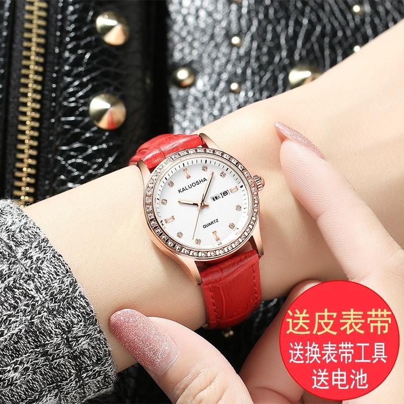 Новый кожаный ремень мисс наручные часы женская форма календарь подлинный карты корейский случайный водонепроницаемый модный и стильный студент кварц