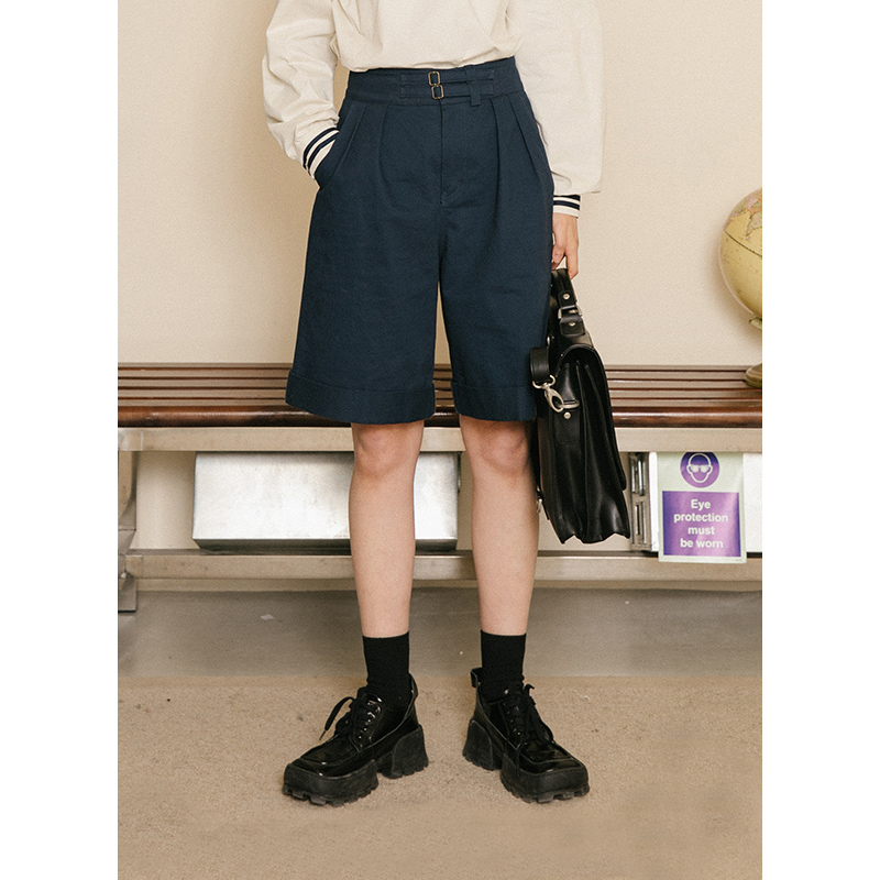 Omont egg tarts' navigation diary Vintage cotton high waisted A-line shorts work clothes leisure pants female student summer