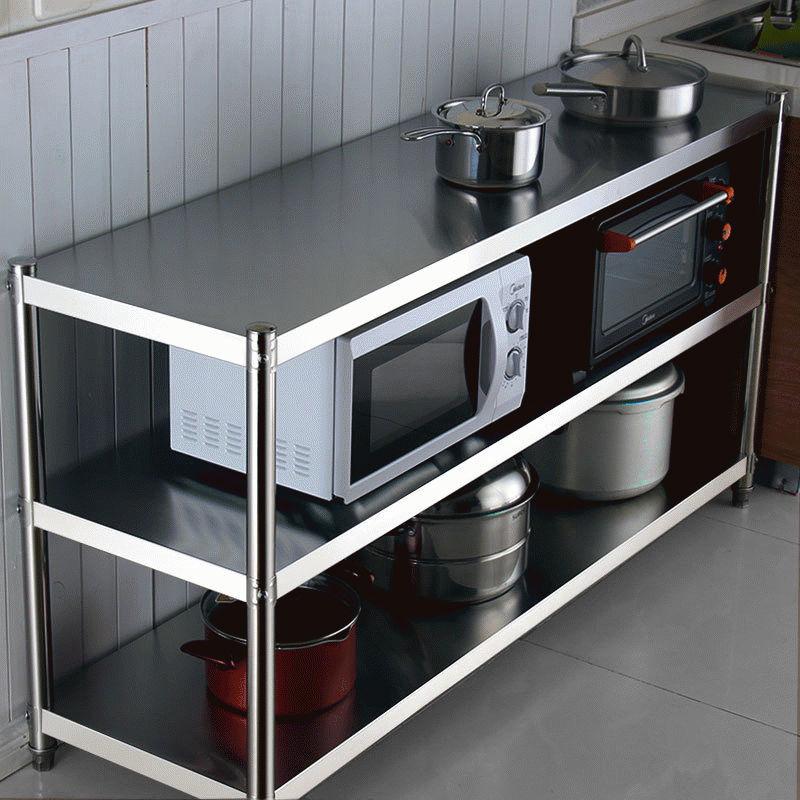 不锈钢厨房置物架落地多层货架微波炉锅碗架收纳储物架子烤箱橱柜