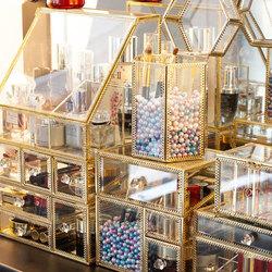 欧式网红轻奢金色玻璃首饰盒戒指项链耳环收纳盒透明饰品展示架子