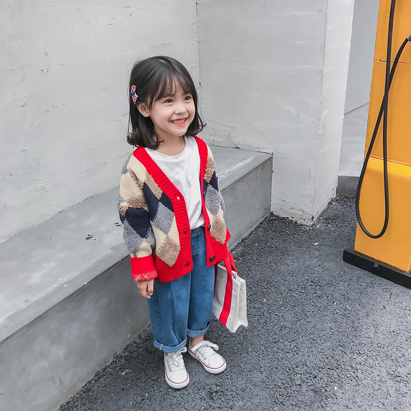 中小童装2018秋装新款女童宝宝彩色菱格针织毛衣开衫加厚气质外套