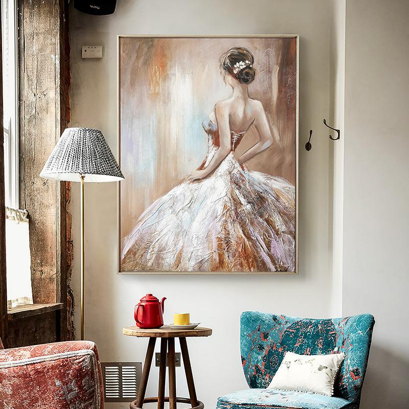 玄关竖版挂画壁画DUDUO客厅餐厅轻奢装饰画都多|欧式人物手绘油画