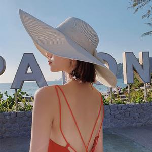草编草帽女沙滩海边出游遮阳帽度假防晒大檐帽夏天网红太阳帽子夏