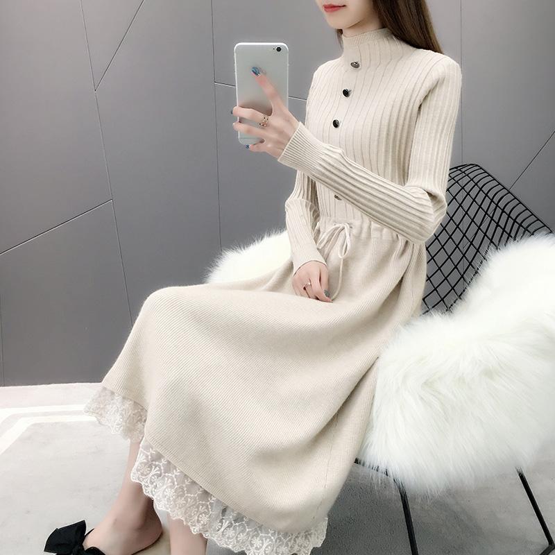11-14新券针织连衣裙冬季中长款春秋装毛衣