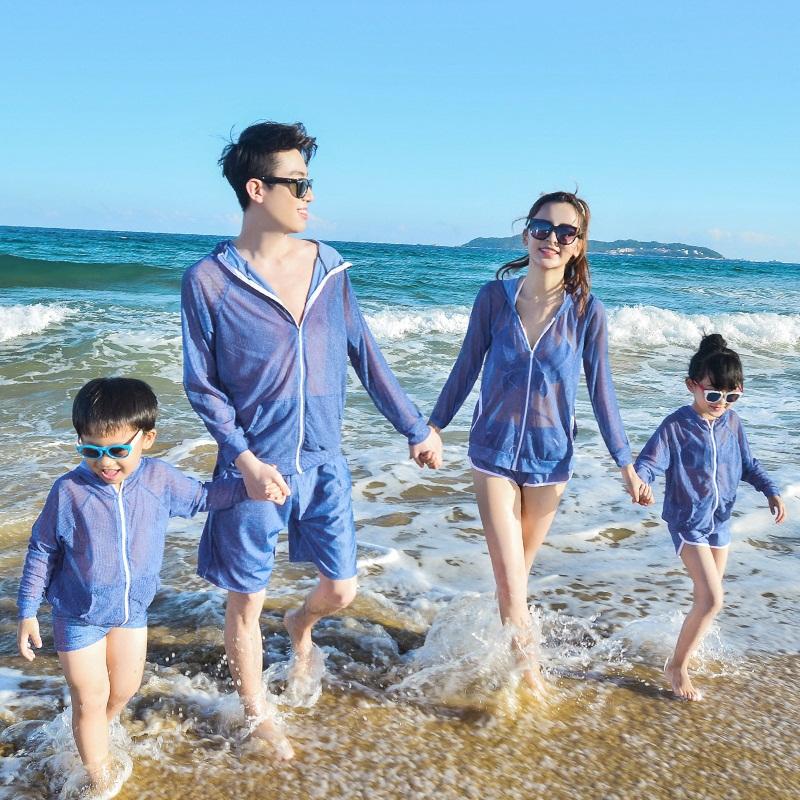 亲子母女家庭装新款父子泡温泉泳裤