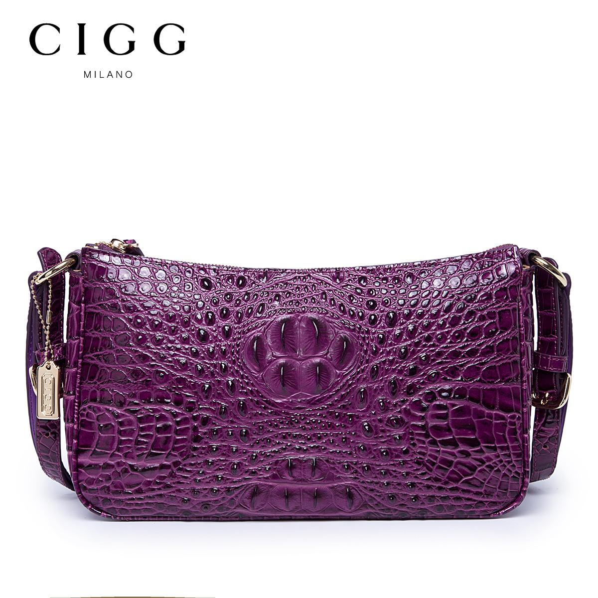 CIGG/西歌真皮女包 头层牛皮鳄鱼纹中年女士欧美时尚单肩包新月包
