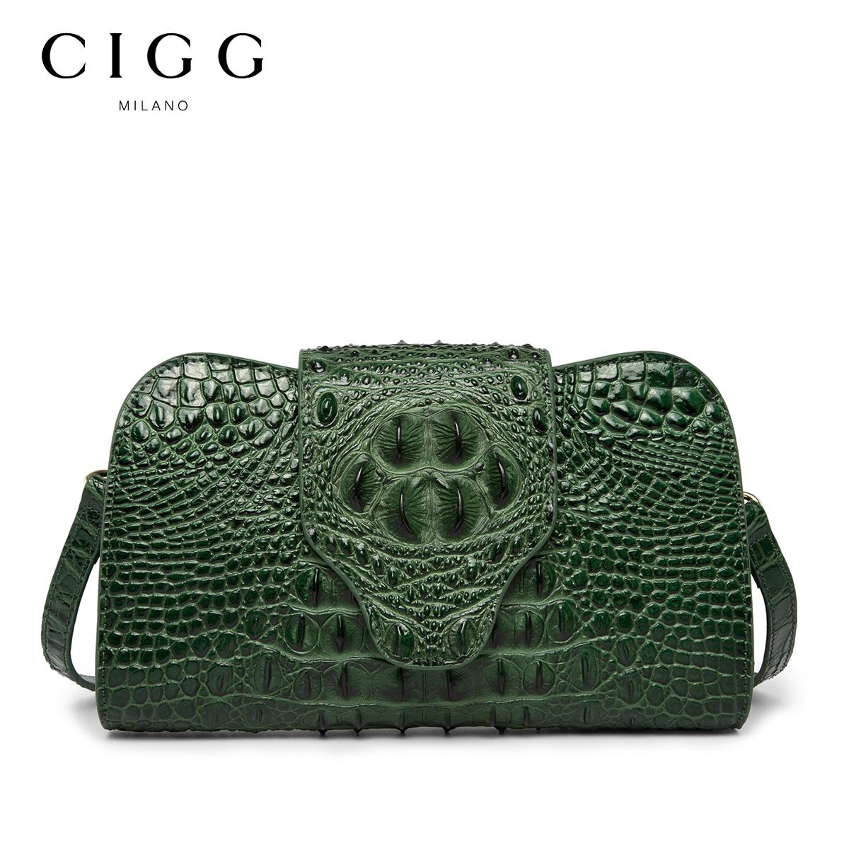 CIGG/西歌真皮女包 新款欧美鳄鱼纹宴会手拿包单肩斜跨包头层牛皮