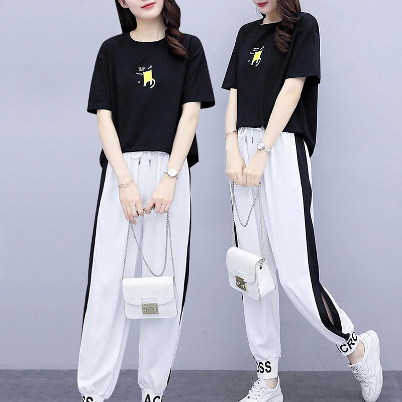 大码女装微胖显瘦穿搭两件套2020年夏季新款胖mm休闲套装洋气时髦