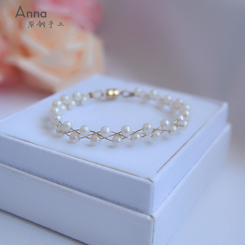 Annas original hand-made natural pearl woven Bracelet