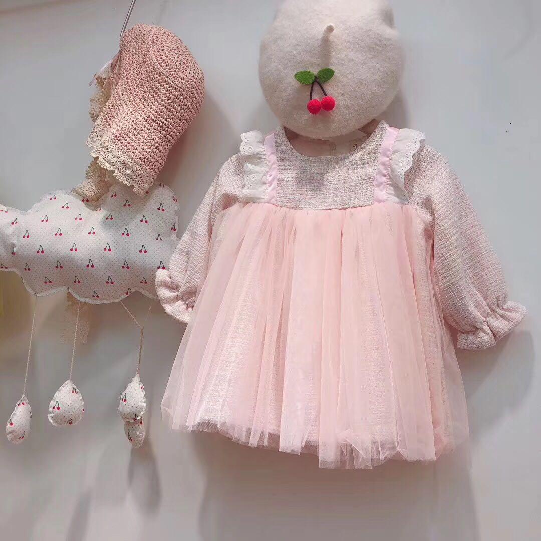 米19新款秋季女童连衣裙花边织带纱纱裙公主裙娃娃裙韩版儿童裙80