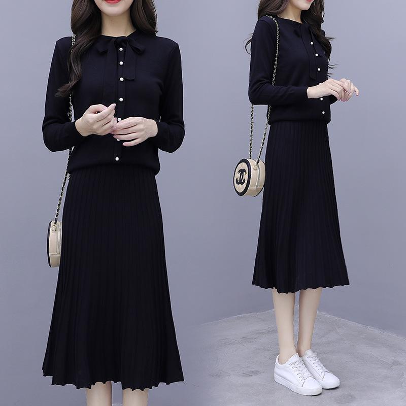很仙的好质量针织毛衣慵懒风女套头宽松中长款裙长袖针织卫衣套装